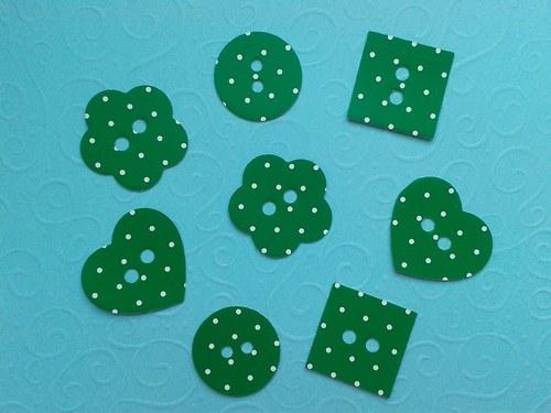 Knoflíky - zelené s puntíky