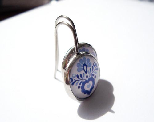 Folklorní modré na háčku (kvalitní nerezová ocel)