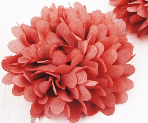 2ks Červená Předené Hedvábí Umělé Květiny Flatback