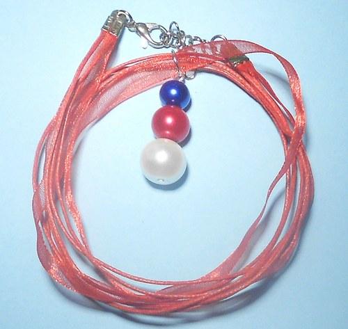 Perly - přívěšek červený, modrý a bílý
