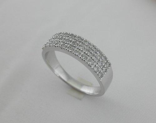 Trojřadý zirkonový prsten
