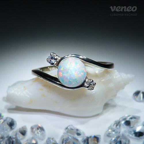 Nefelé - prsten s australským opálem a zirkony