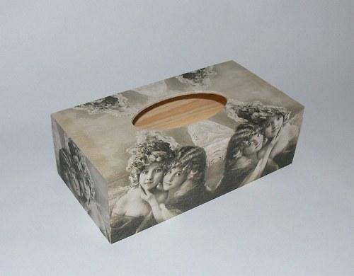 Krabička na kapesníčky -vintage dívenky