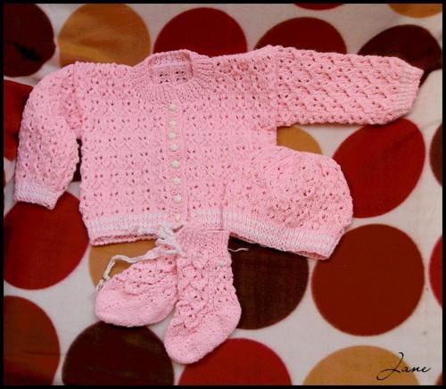 Růžová kojenecká souprava