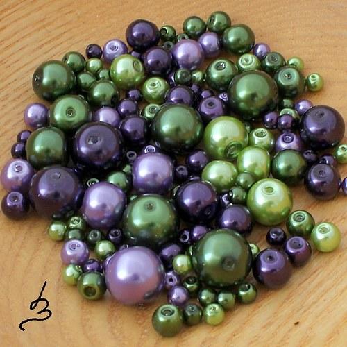 Fialovozelená směs voskových perel - 50 g