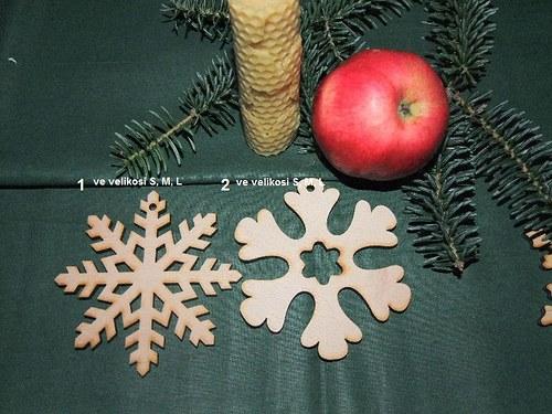 Vánoční dřevěné ozdoby VLOČKY 1 a 2/velikost L