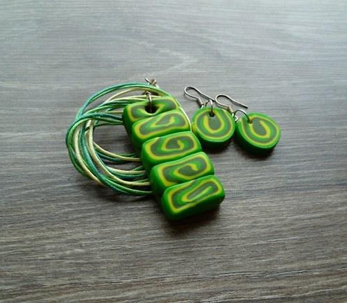 Zeleno-žlutý náhrdelník+Náušnice