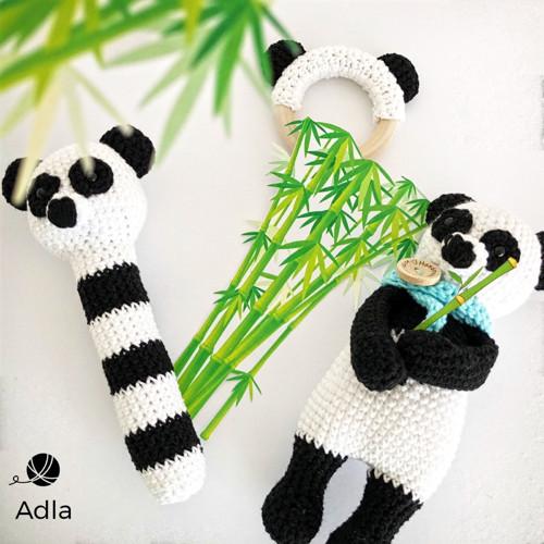 SADA  Panda - hračka + chrastítko + kousátko