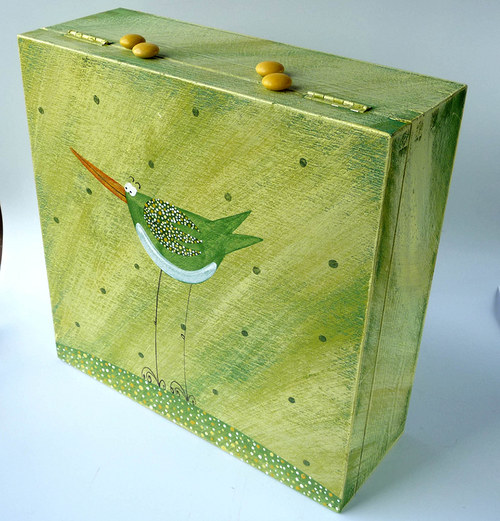 krabice na ponožky - zelená s ptáčkem
