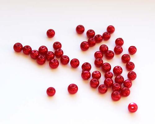 4 mm voskové perle červené magic 100 ks