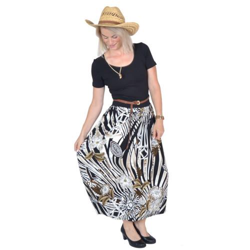 Řasená maxi sukně FEMI / safari