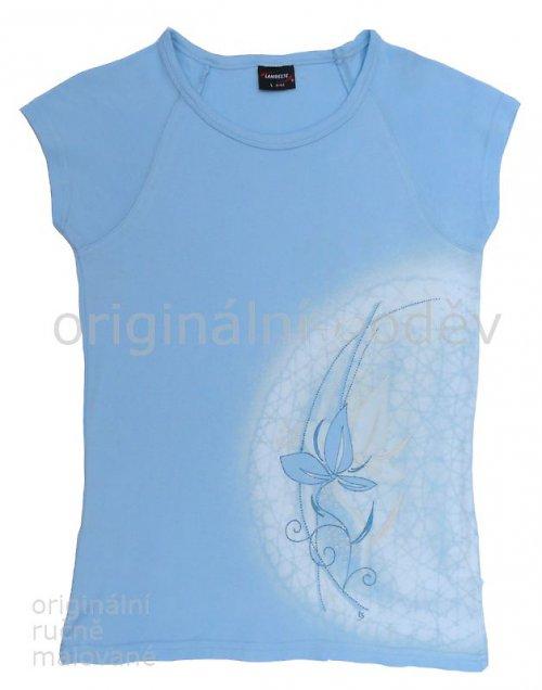 Malované tričko dámské - květ - modré