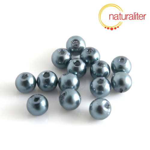 Voskované perly, šedozelené, 6mm, 50ks