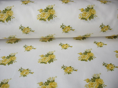 Potištěné plátno 100% bavlna růže žlutá