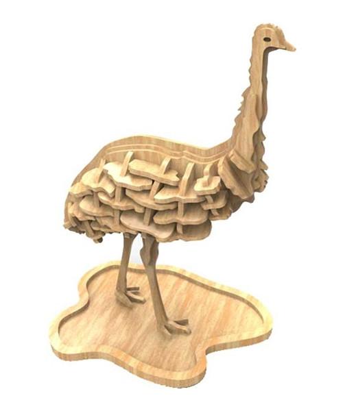 Dřevěná skládačka Emu - australská zvířata