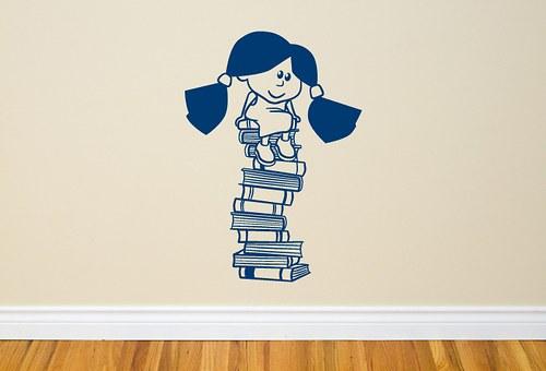 Holka s knížkama – 40cm x 57cm