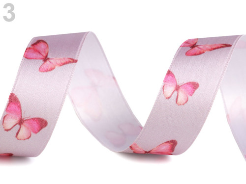 Stuha motýl šíře 25 mm - růžová (1m)