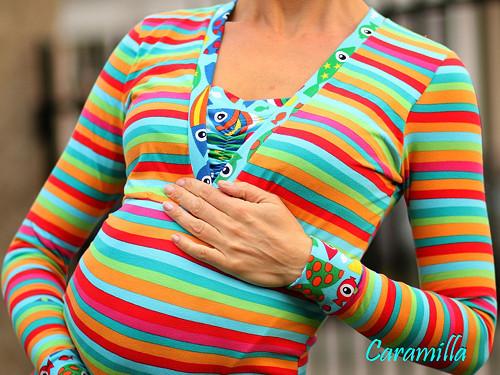 Kojící + těhotenské triko proužky + rybičky BIO