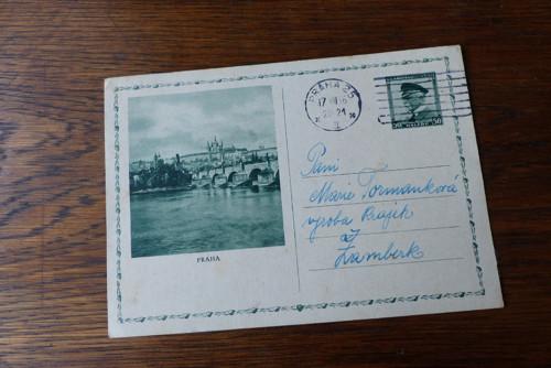 Výroba krajek Žamberk - Praha...dopisnice 1936