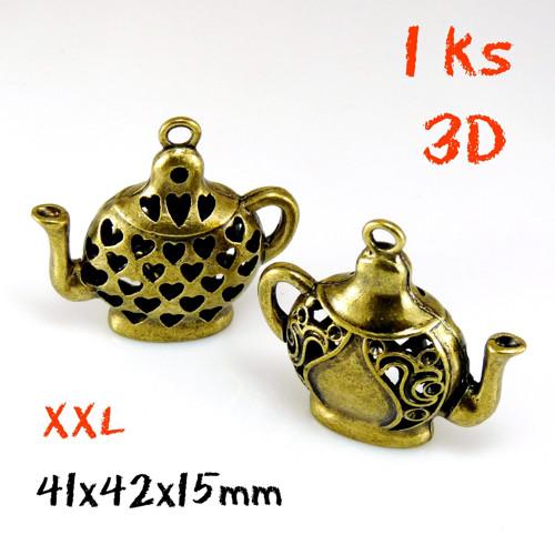 ČAJOVÁ KONEV XXL 3D bronz ANTIQUE 42mm 1ks
