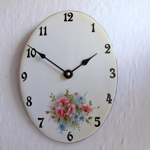 Smaltované hodiny oválné velké 298