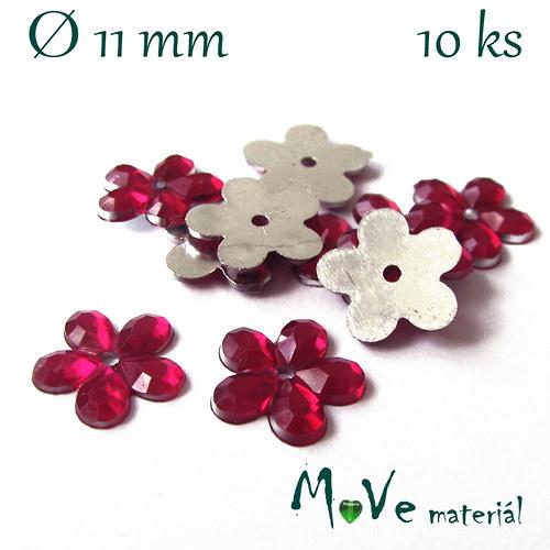 Květina plast Ø11mm našívací  10 ks růžová