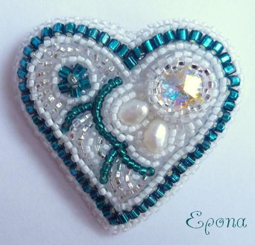 Brož - Valentýnské srdce modré