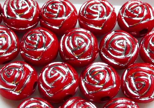 Plastové korálky s růžičkou 8 mm - červená / 5ks