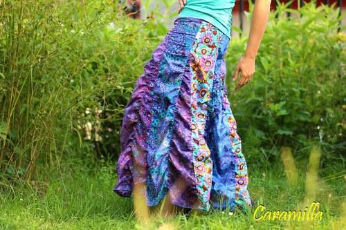 Dlouhá nabíraná sukně vůně fialek (možno i těhu)