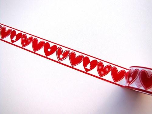 Páska: Vánoční srdíčka (3 x 33 cm)