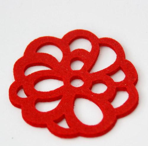 Výsek  filcový - kytička, červená