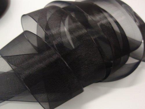 19528-B25 Stuha organza 25mm černá, á 1m