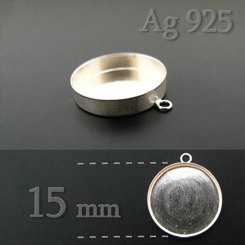 Lůžko kulaté 15mm ze stříbra Ag925
