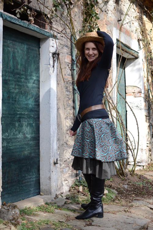 Bavlněná sukně Orient se spodničkou