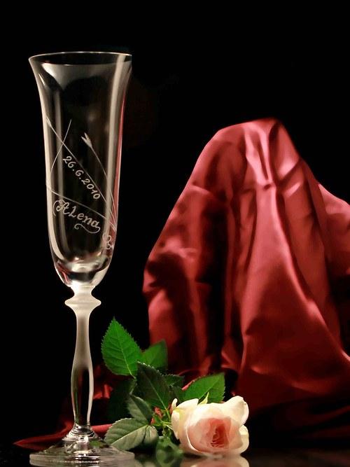 2x sklenice (šampus) svatební - jemný motiv s jmén