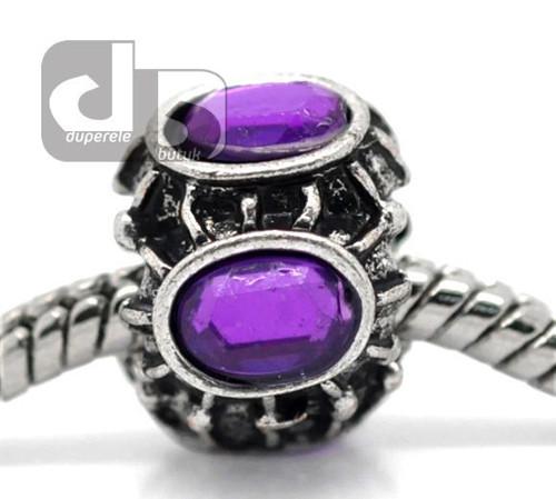 Kroužek s fialovými krystalky na hrubý řetízek