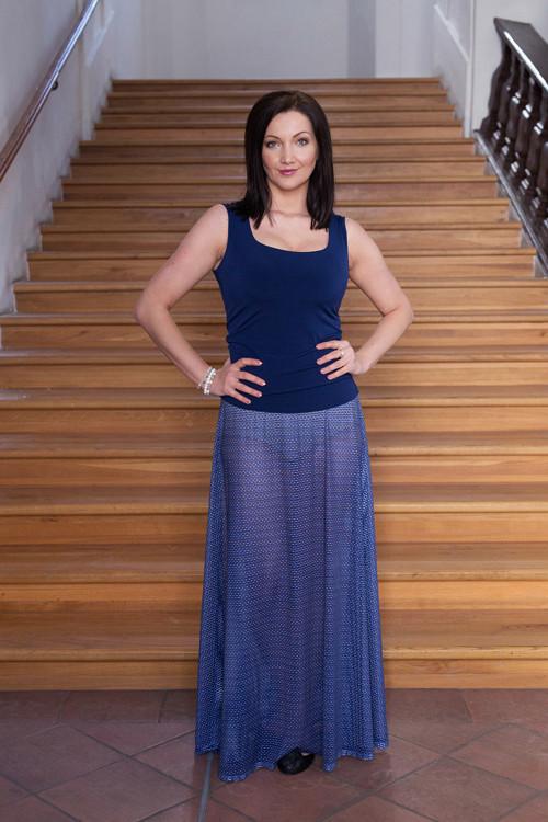 Dlouhá transparentní sukně - modrá s puntíky