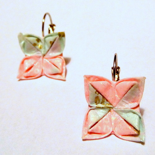 Cukrová vata II -   origami náušnice
