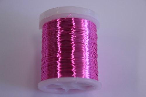 Měděný drátek 03mm - růžový, návin 48,5-50m