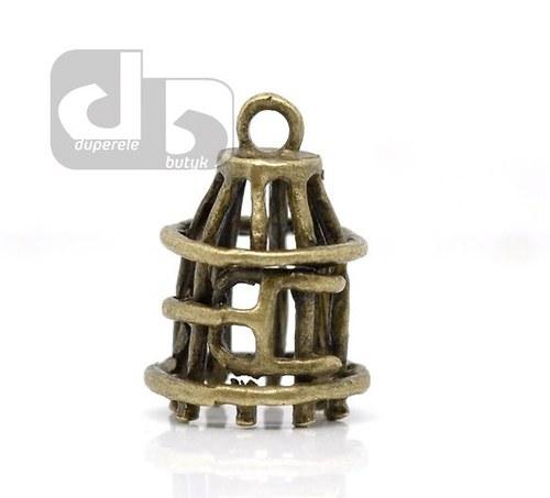 Bronzový přívěšek ptačí klece 1 ks