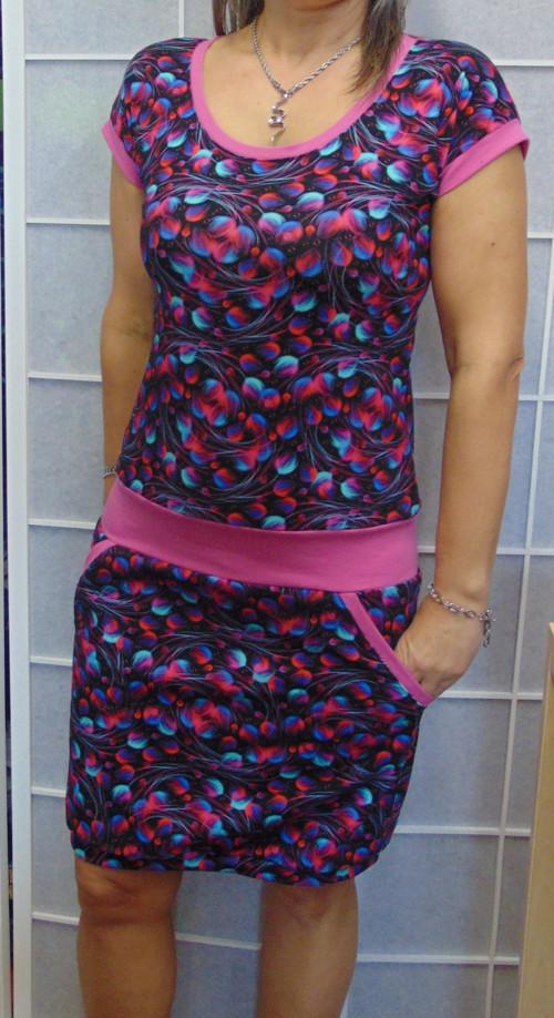 šaty Růžovo-modrá peříčka