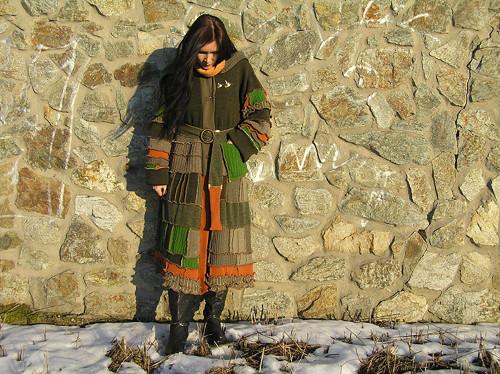 maxi patchwork svetr .zelená tráva