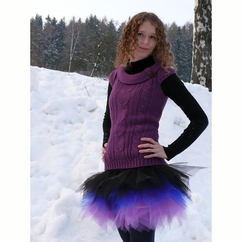 Černo-fialová tylová sukně - cípatá
