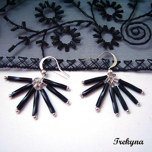 Gothic náušnice - Černé vějíře