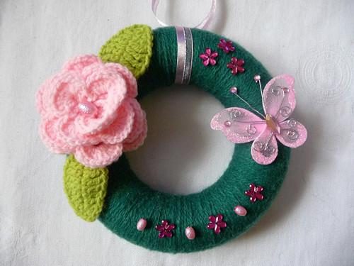Jarní věneček-zeleno-růžový