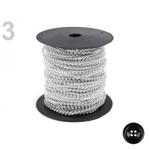 Plastové korálky na šňůře pr.3mm (5m) -stříbrná sv