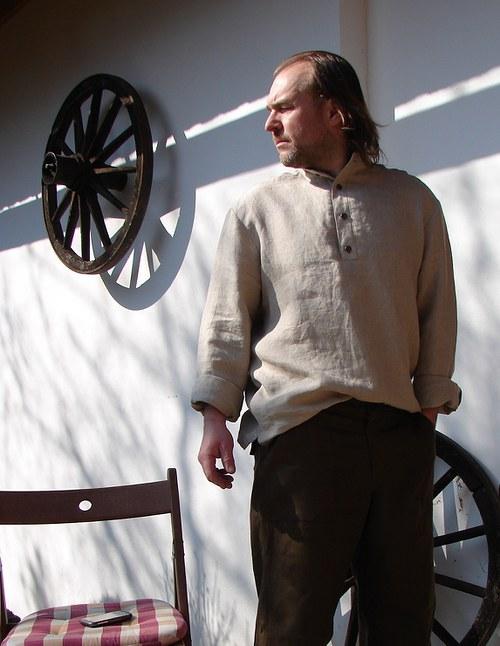 Režná lněná pánská košile s krátkou légou