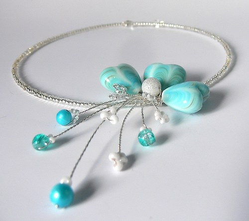 Porcelánová srdíčka v tyrkysové-náhrdelník