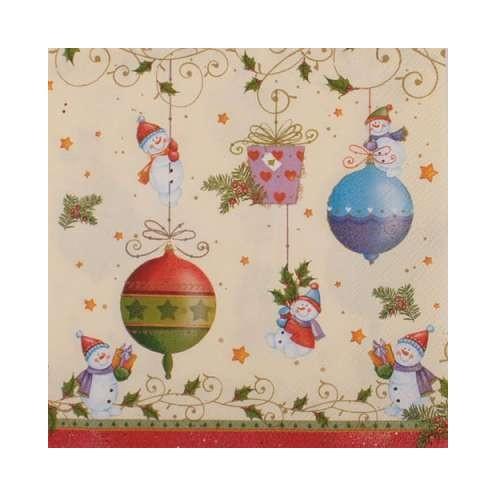 Ubrousek na decoupage vánoční se sněhuláky