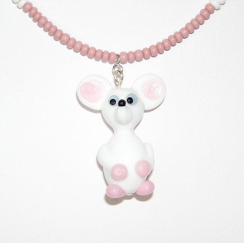 Bílá myš - vinutá perle